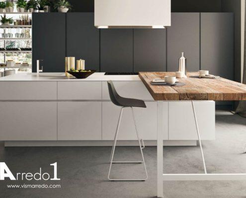 Cucina moderna lineare bianca for Visma arredo