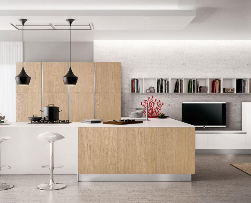 Il legno in cucina per un effetto caldo ed accogliente - Cucina bianca e legno ...