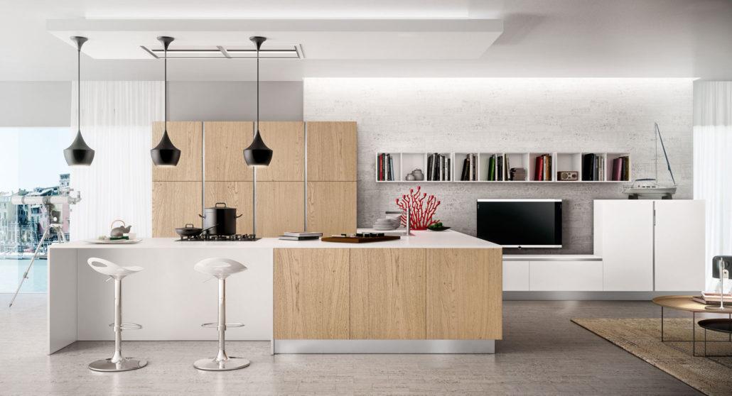 Cucina grigia moderna cucinemoderne - Cucina bianca e legno ...